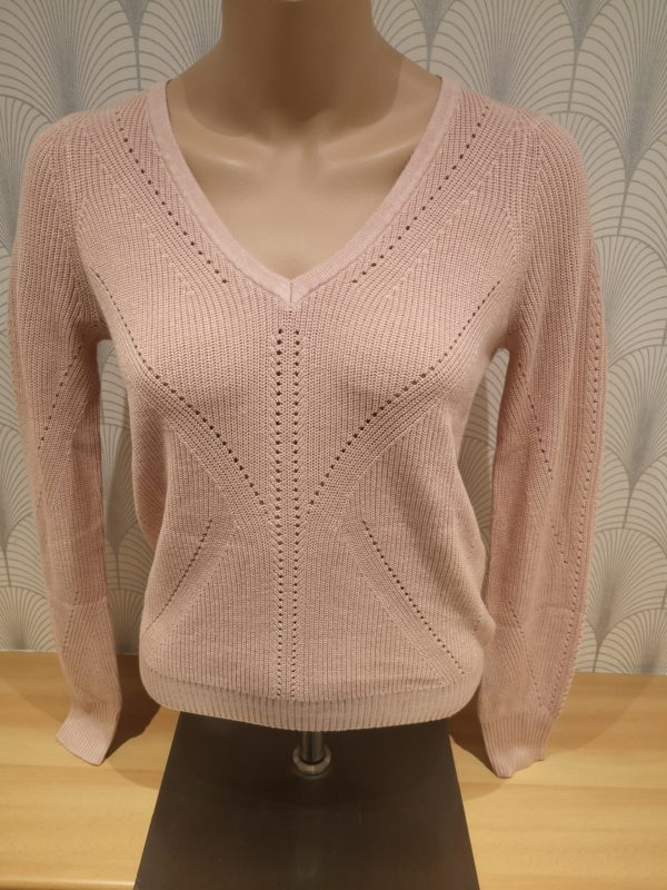 pull manches longues col v rose pale
